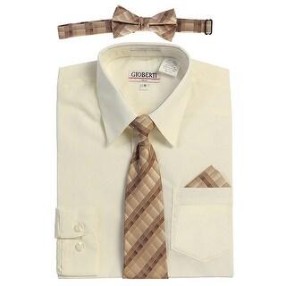 Gioberti Little Boys Ivory Tie Bow Tie Handkerchief Dress Shirt 4 Pc Set