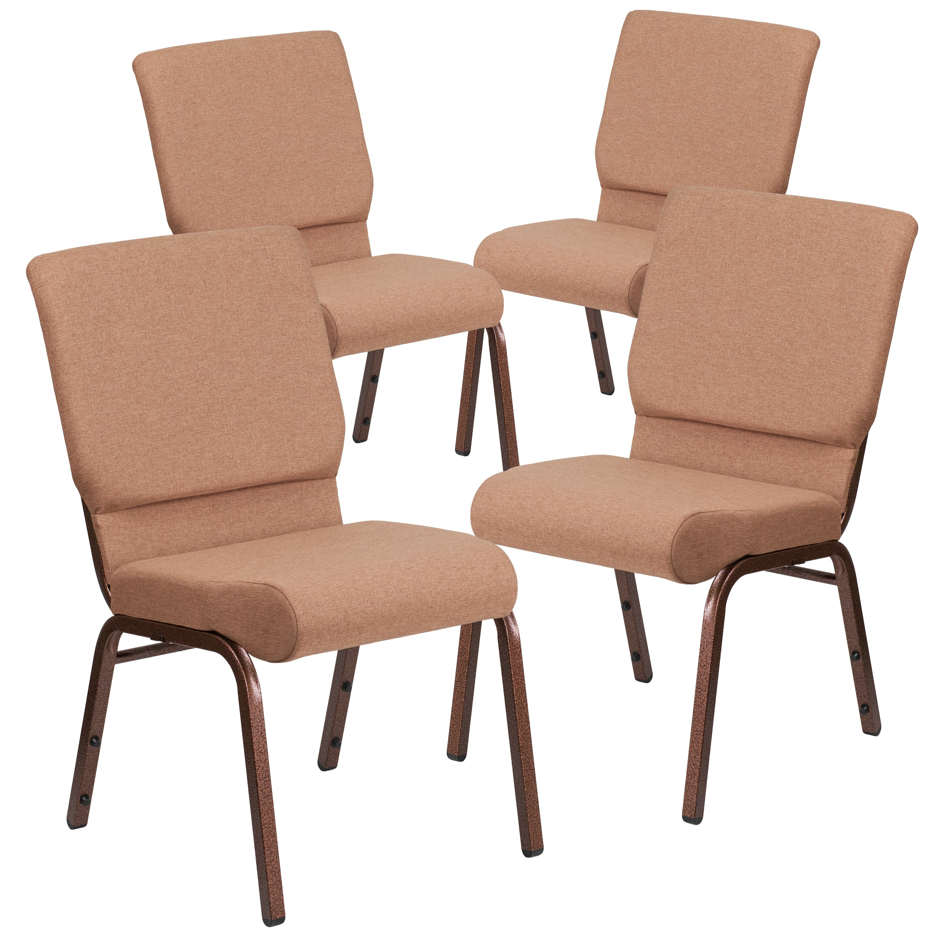 thumbnail 9 - 4-Pack-18-5-034-W-Stacking-Church-Chair-in-Fabric-Copper-Vein