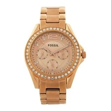 Fossil Es2811p Riley Multifunction Rose-Tone Stainless Steel Watch Watch For Women
