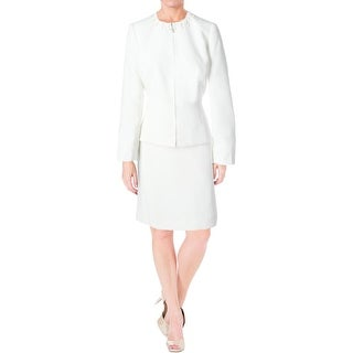 Tahari ASL Womens Petites Donna Skirt Suit Embellished Pearl-Trim