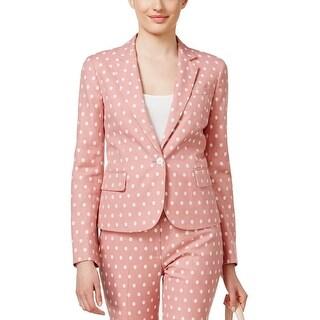 Anne Klein Womens One-Button Blazer Linen Blend Textured