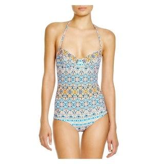 Shoshanna Womens Printed Halter One-Piece Swimsuit