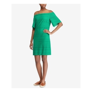 RALPH LAUREN Womens Green Short Sleeve Above The Knee Dress  Size 2