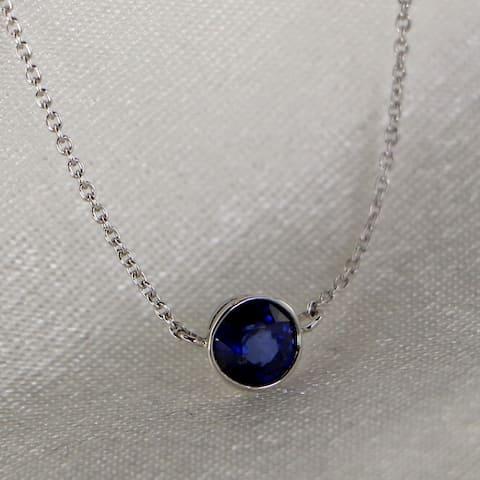 Auriya 14k Gold 1/3ctw Round Bezel Sapphire Solitaire Necklace