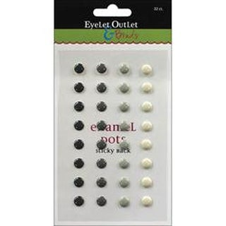 Gray - Eyelet Outlet Adhesive-Back Enamel Dots 32/Pkg
