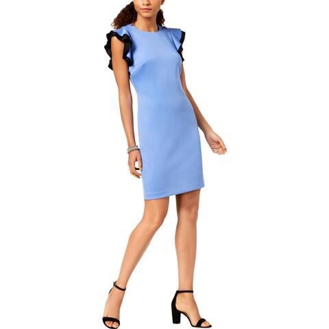 Tommy Hilfiger Womens Scuba Dress Flutter Sleeve Sheath