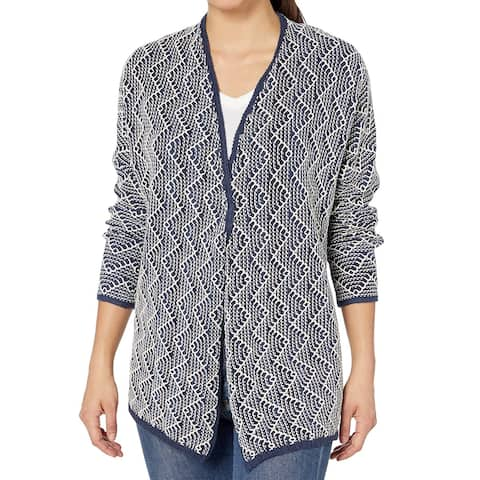 Nic+Zoe Blue Womens Size Medium M Open Front Textured Cardigan