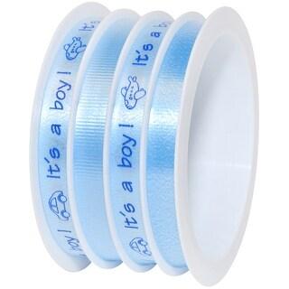 """Multi-Channel Baby Ribbon 3/8""""X60'-It's A Boy - Baby Blue"""