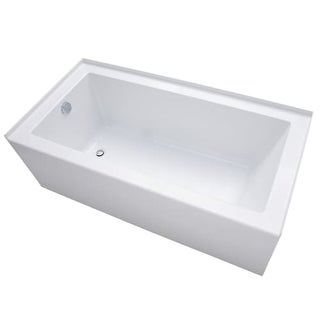 "Mirabelle MIRSKS6030L Sitka 60"" X 30"" Acrylic Soaking Bathtub for Three Wall Alcove Installations with Left Drain"
