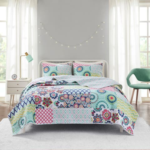 Kendra Aqua Printed Reversible Cotton Coverlet Set by Intelligent Design