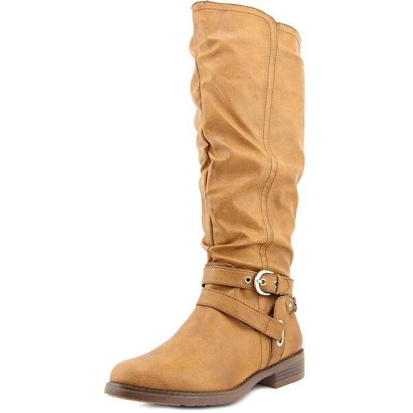 XOXO Martin Wide Calf Women Round Toe Synthetic Tan Knee High Boot