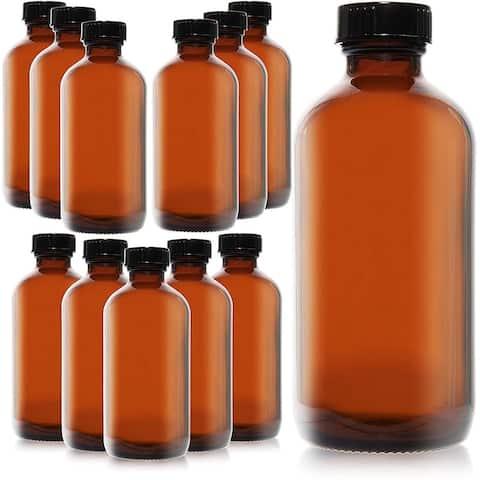 12 Pack 8oz Amber Glass Bottles with Black Lids for Storing Essential Oils - 12 Pack