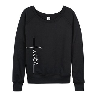 Faith Cross Side Hit - Ladies French Terry Pullover