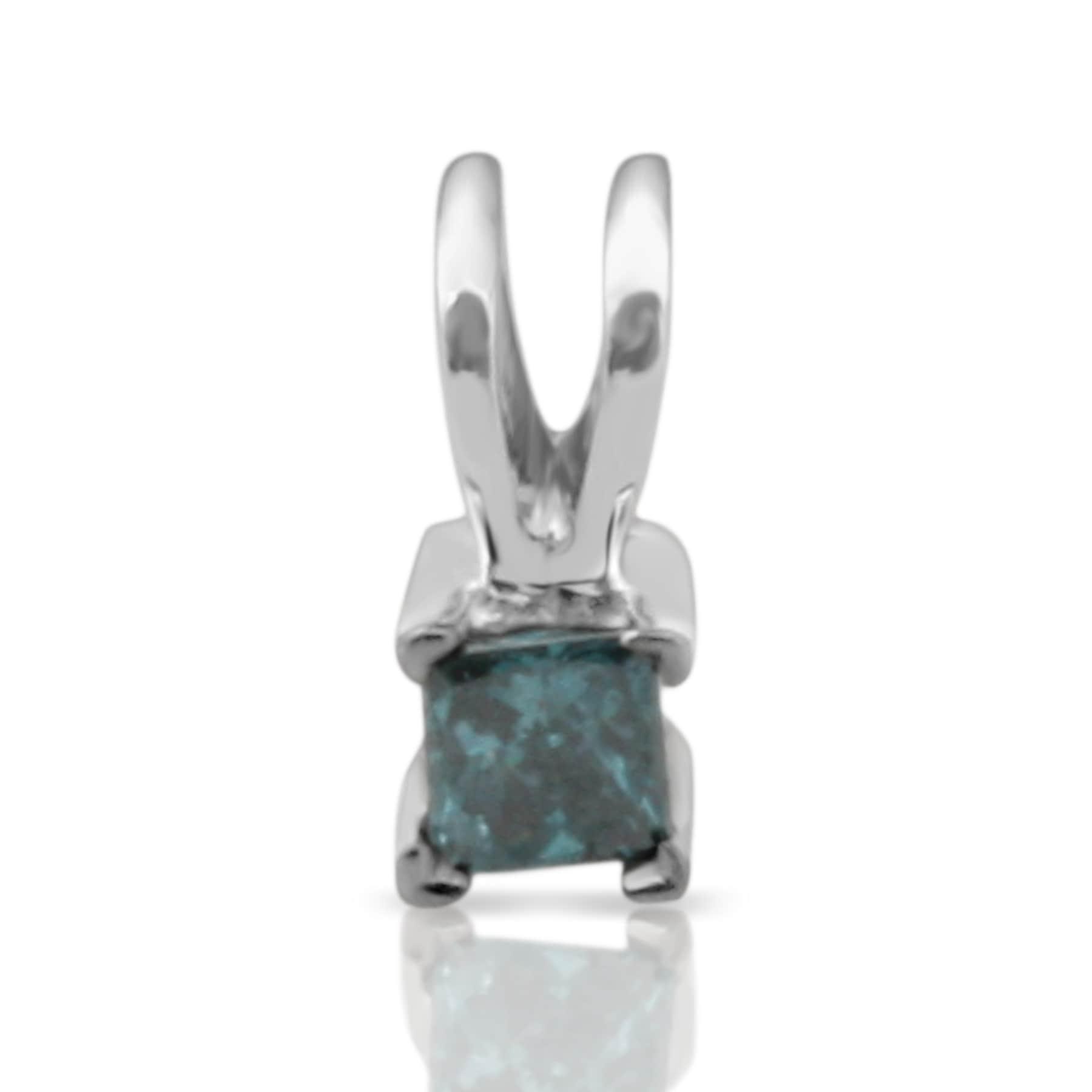 Prism Jewel 2.80MM 0.12CT Princess Cut Blue Diamond Solitaire Pendant - Thumbnail 0