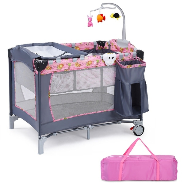 Shop Costway Foldable Baby Crib Playpen Playard Pack ...