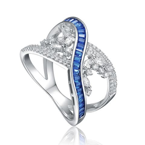Collette Z Sterling Silver Rhodium Plated with Sapphire Cubic Zirconia Criss-Cross Ring