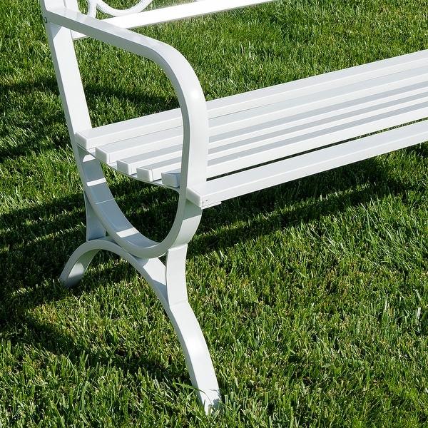 Belleze Outdoor Park Bench 50 inch Welcome Elegance Design Seat Backyard Steel Frame White