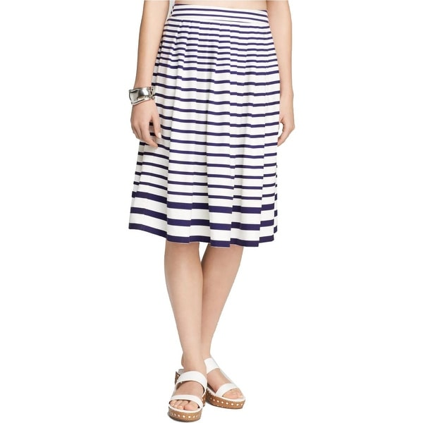 Lucy Paris Womens Flare Skirt Striped Mid-Calf