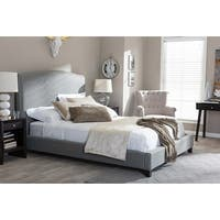 Aisling Grey Fabric Platform Bed w/Nail Accented headboard (King)