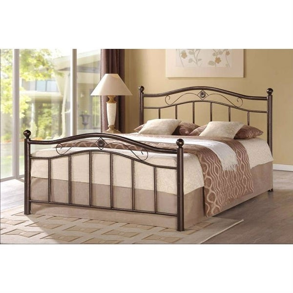 Full Metal Platform Bed with Headboard and Footboard in Brushed Bronze