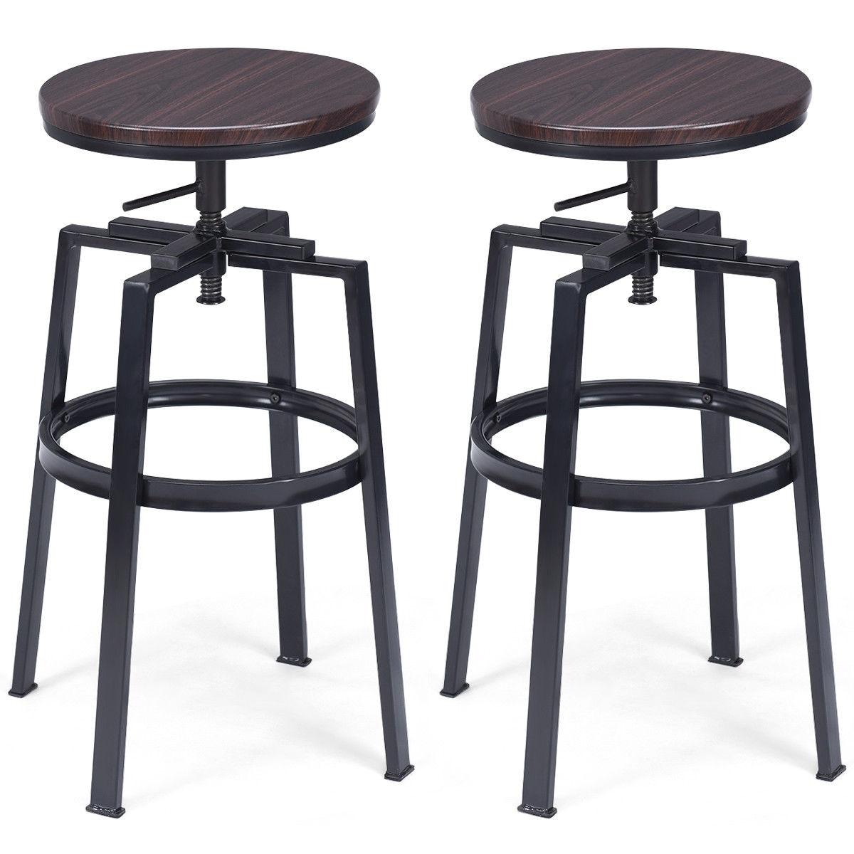 Pleasing Costway Set Of 2 Vintage Bar Stool Adjustable Wood Metal Design Pub Chairs Industrial Inzonedesignstudio Interior Chair Design Inzonedesignstudiocom