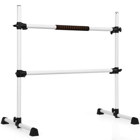 4 Ft Portable Freestanding Stable Construction Pilates Ballet Barre with Double Dance Bar-Silver Gray