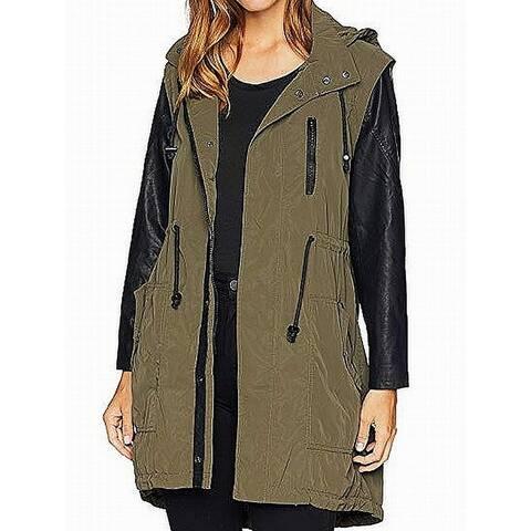 BLANKNYC Women's Green Size Medium M Colorblock Pleather Jacket