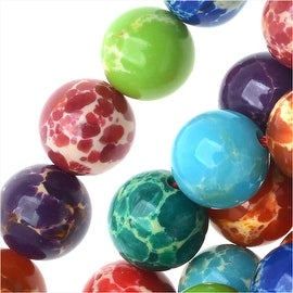 Impression Jasper Gemstone Beads, Round 8mm, 15 Inch Strand, Multi Color