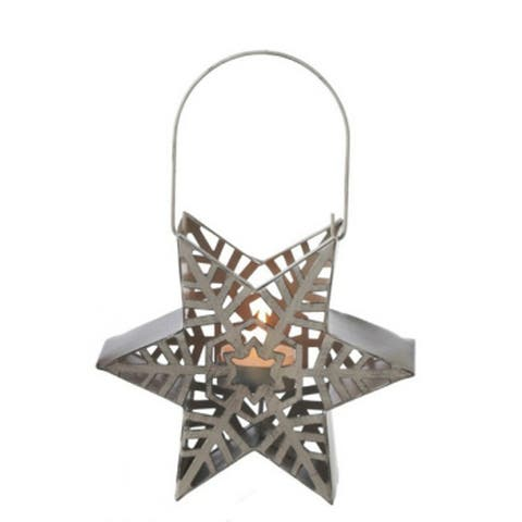 "9.5"" Alpine Chic Taupe Snowflake Star Tea Light Candle Holder Lantern"
