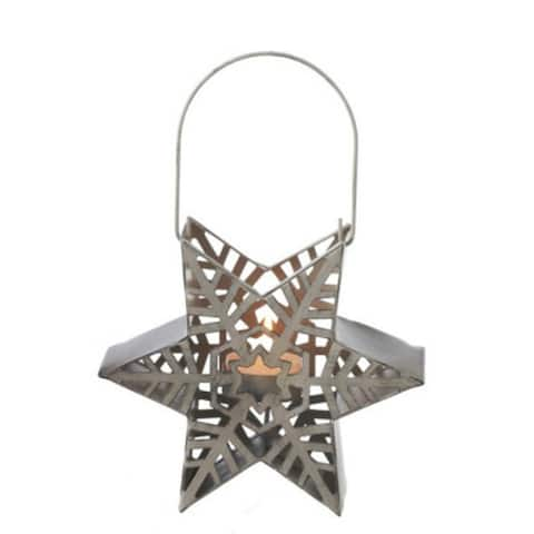 "9.5"" Alpine Chic Distressed Style Taupe Snowflake Star Design Tea Light Candle Holder Lantern - N/A"