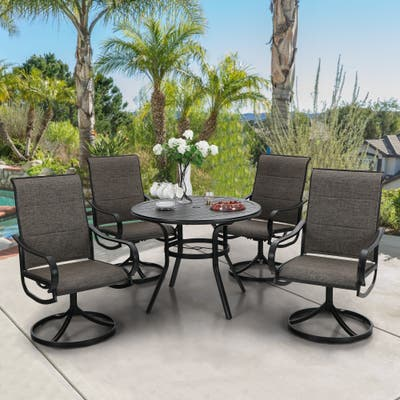 PHI VILLA 5-Piece Patio Dining Set, Round Dining Table with 4 Swivel Chairs Padded Sling Fabric