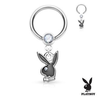 Playboy Enamel Bunny Dangle with Crystal Ball Surgical Steel Captive Bead Ring - 16GA (Sold Ind.)