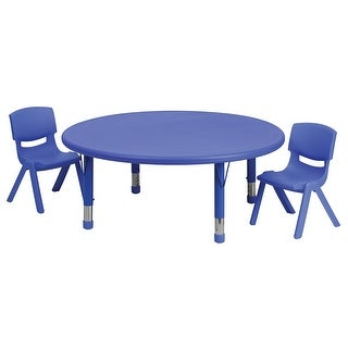Offex 45'' Round Adjustable Blue Plastic Activity Table Set with 2 School Stack Chairs