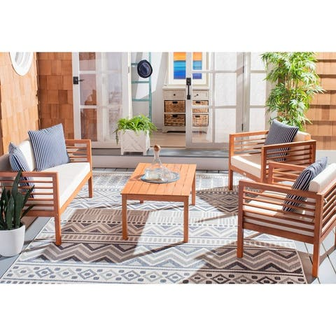 SAFAVIEH Outdoor Living Alda 4-piece Set with Accent Pillows