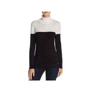 Calvin Klein Womens Turtleneck Sweater Knit Colorblock
