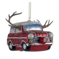 Kurt Adler Red Car with Reindeer Antlers   Holiday Ornament Glass