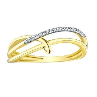 Prism Jewel 0.03CT Round Cut Natural G-H/I1 Diamond Light Weight Stylist Ring - White G-H