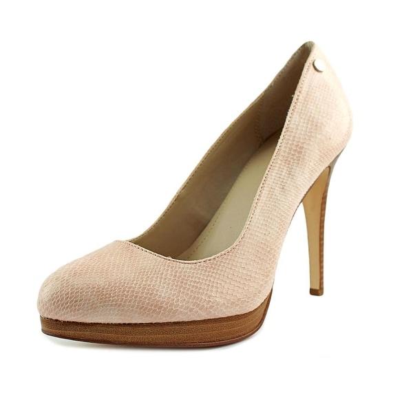 Calvin Klein Gilda Women Round Toe Canvas Pink Heels