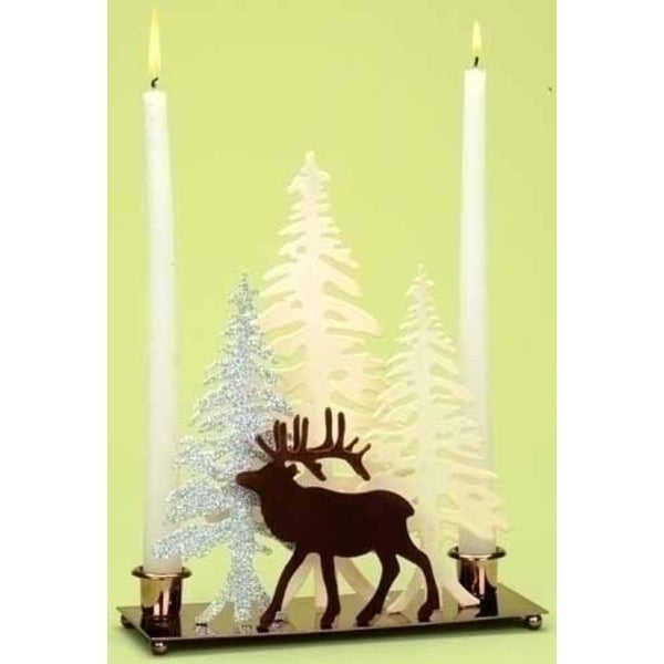 """10"""" White and Brown Deer with Winter Scene Christmas Candle Holder"""
