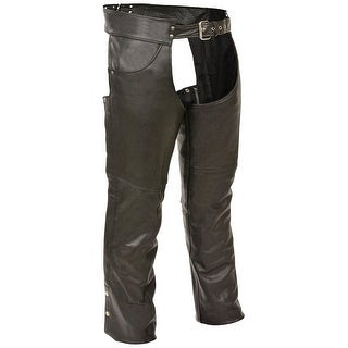 Mens Premium Black Leather Plain Lined Biker Chaps