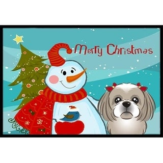 Carolines Treasures BB1870JMAT Snowman With Gray Silver Shih Tzu Indoor & Outdoor Mat 24 x 36 in.