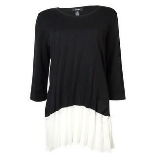 Alfani Women's Pleated Contrast Crepe-Hem Sweater