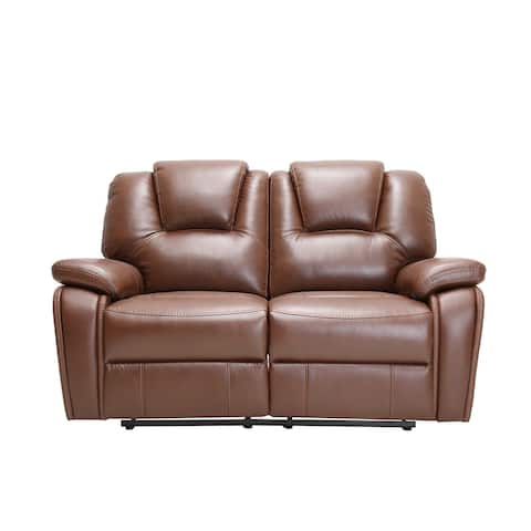 Traditional Brown Faux Leather Upholstered Power Recline Loveseat