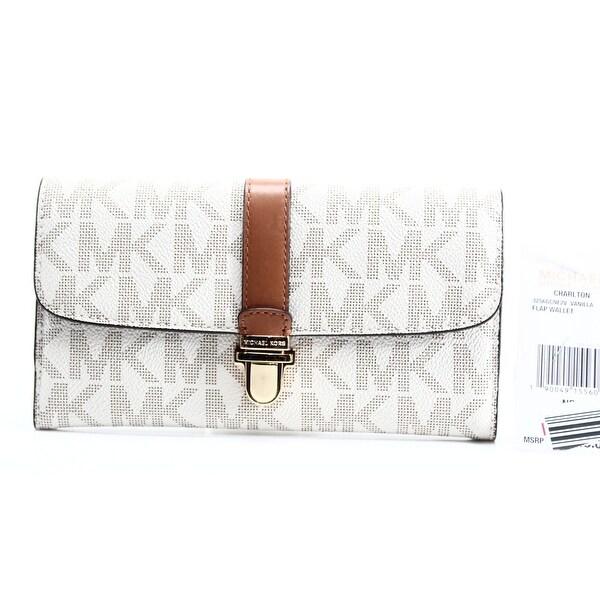 Michael Kors NEW Ivory PVC Signature Vanilla Charlton Clutch Wallet