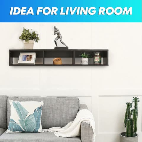 FITUEYES Floating Hutch Wall-Mounted Shelf Media Console Rack Cabinet with Storage