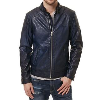 BUFFALO DAVID BITTON NEW Blue Men Small Faux-Leather Motorcycle Jacket