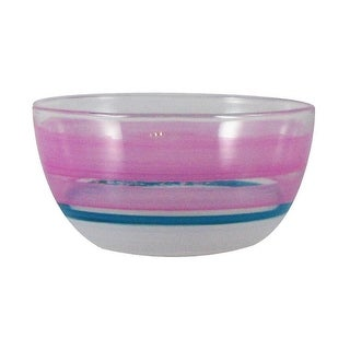 """Set of 2 Pink Retro Stripe Hand Painted Glass Serving Bowls 6"""""""