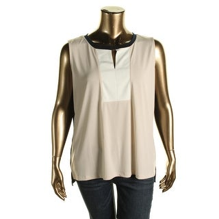 Jones New York Womens Plus Colorblock Sleeveless Blouse - 0X