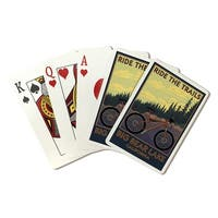 Big Bear Lake, CA Mountain Bike Scene - LP Artwork (Poker Playing Cards Deck)