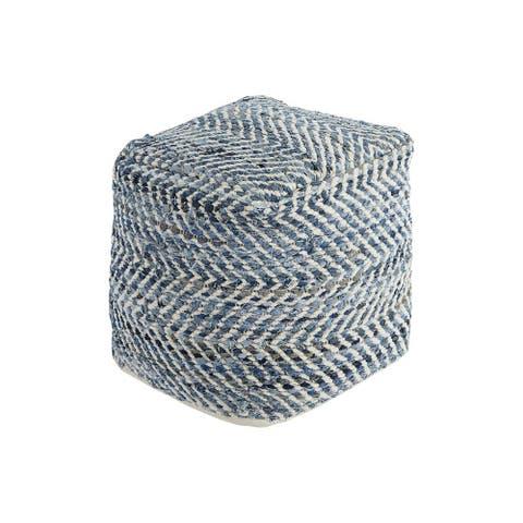 Fabric Round Shaped Pouf with Chevron Pattern, Blue